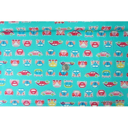 *880778* Japanese Cotton: Little Cars On Turquoise 110cm